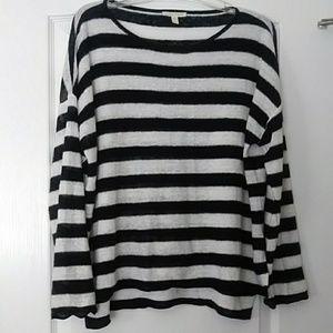 Eileen Fisher Striped Long Sleeve Linen Sweater s/